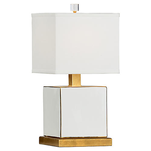 Block Table Lamp, White/Gold