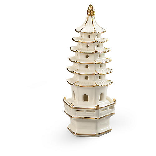 "11"" Pagoda Figurine, Cream/Gold"