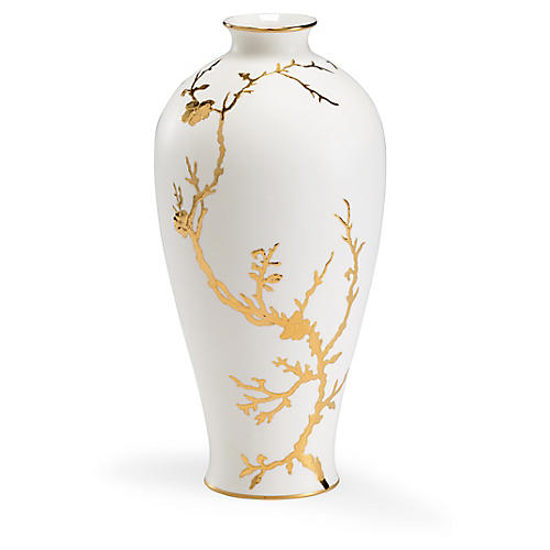 "13"" Nanshan Porcelain Vase, White/Gold"