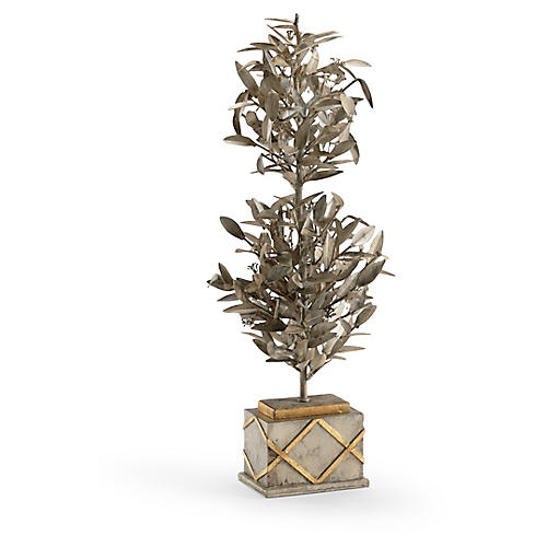 "25"" Parisian Steel Faux Topiary, Aged Beige/Gold"