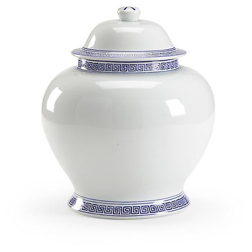 "14"" Greek Key Ginger Jar, White/Blue"