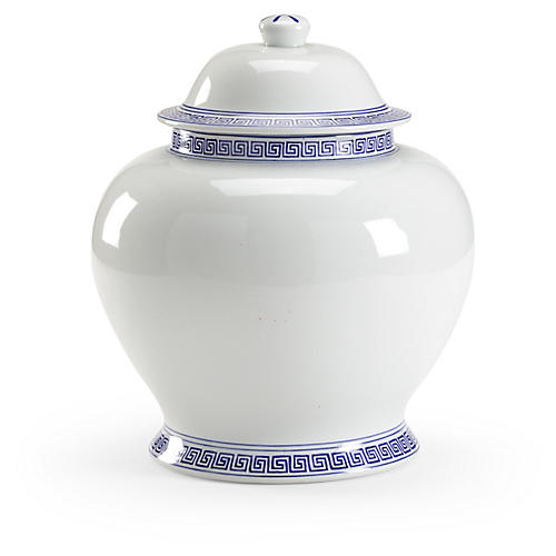 "14"" Greek Key Ginger Jar, White/Blue"