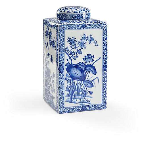 "16"" Lotus Square Tea Caddy, Blue/White"