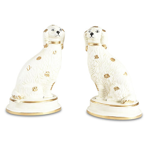 Asst. of 2 Spaniel Figures, Cream/Gold