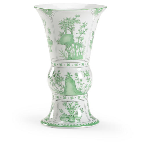 "12"" Landscape Porcelain Vase, Green/White"