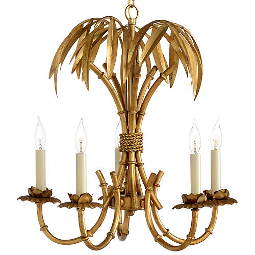 Bamboo Grove 5-Light Chandelier, Antiqued Gold