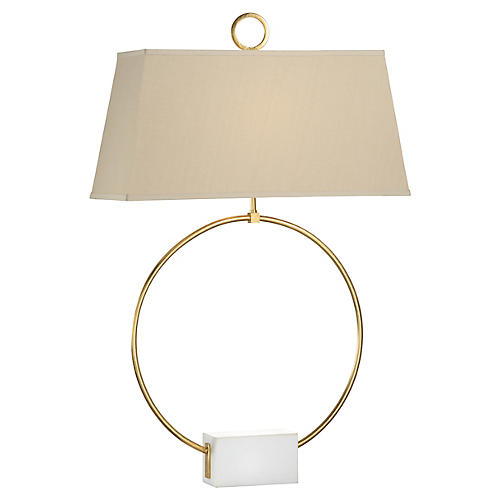 Ring Marble Table Lamp, Gold/White