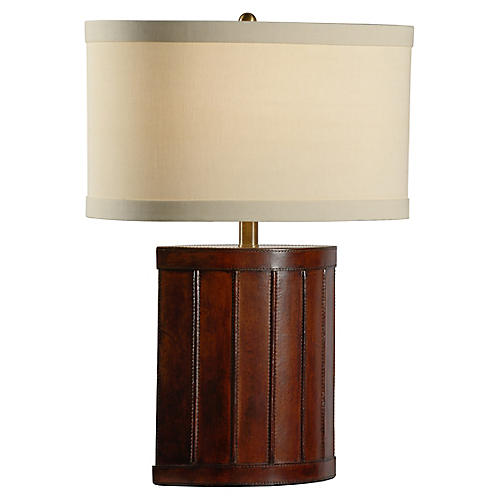 Tempe Leather Table Lamp, Mahogany