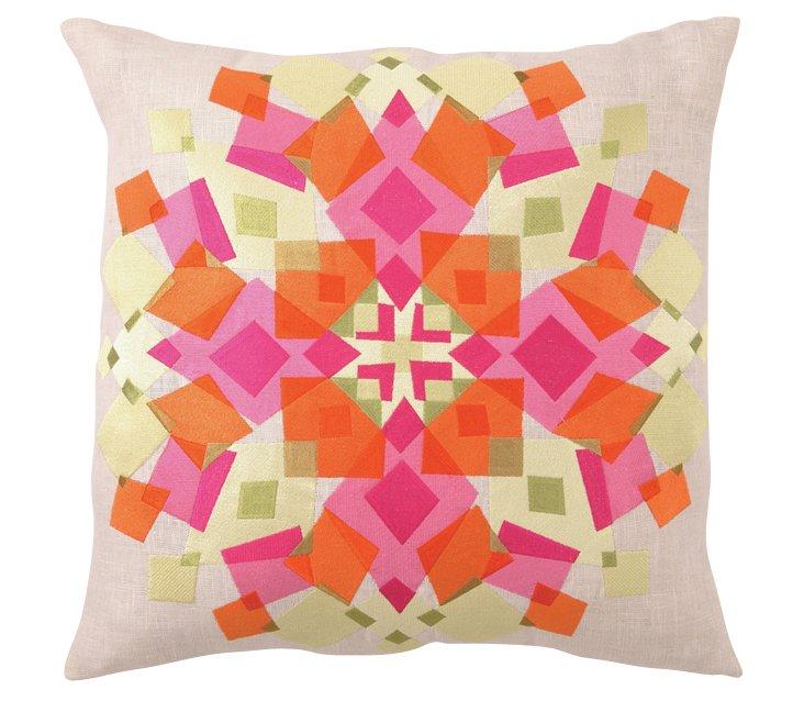 Kaleidoscope 20x20 Linen Pillow, Orange