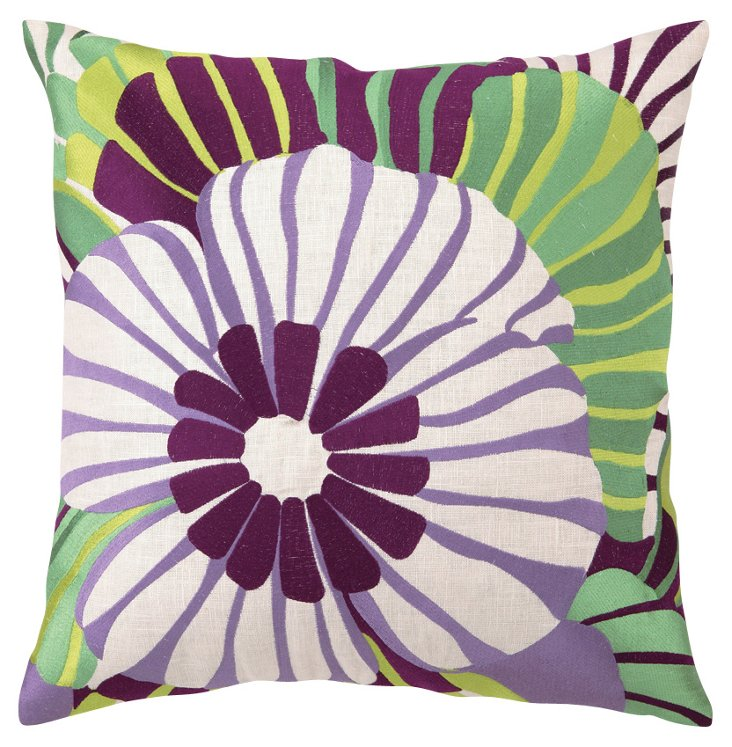 Pansy 20x20 Embroidered Pillow, Purple
