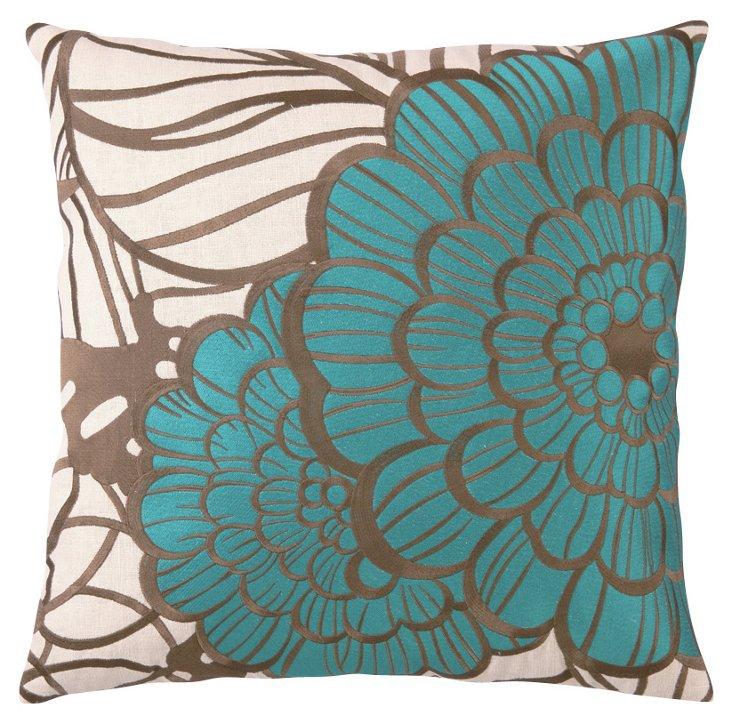 Jungle Bloom 20x20 Pillow, Blue