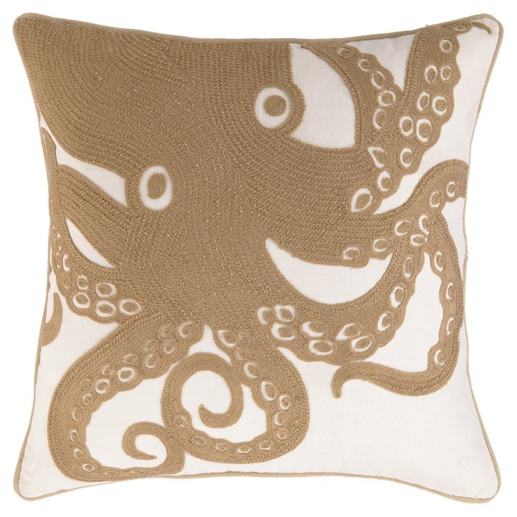 Octopus 18x18 Embroidered Pillow, Beige