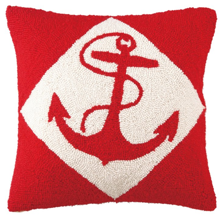 Anchor 16x16 Wool Pillow, Red
