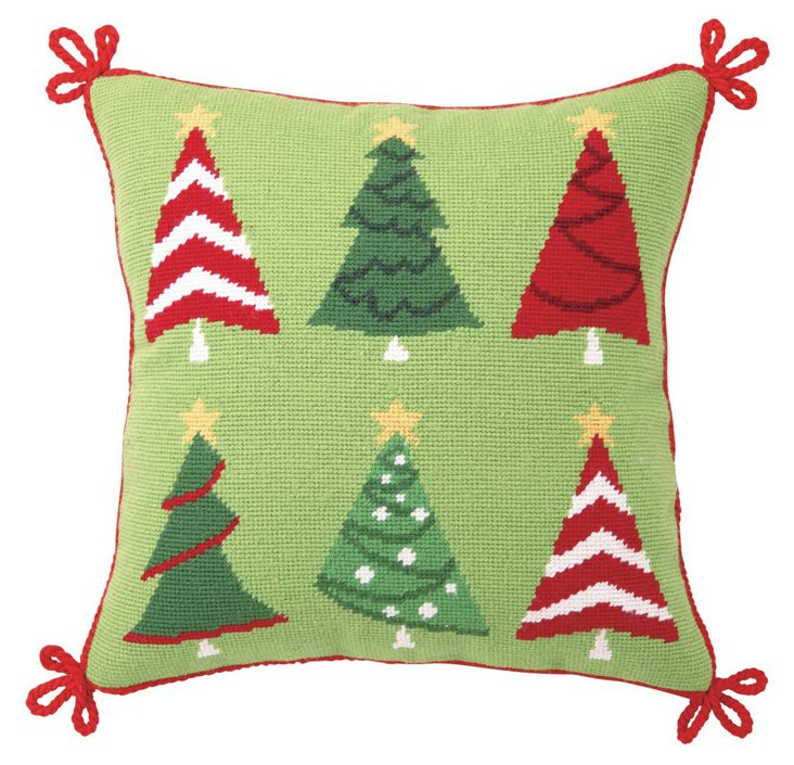 Festive Trees 14x14 Pillow, Green