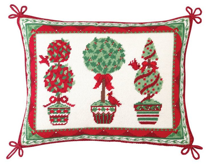 Holiday Topiaries 14x18 Pillow, Multi