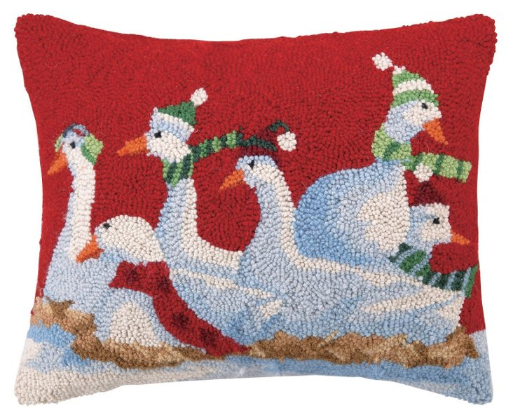 Six Geese 16x20 Pillow, Red