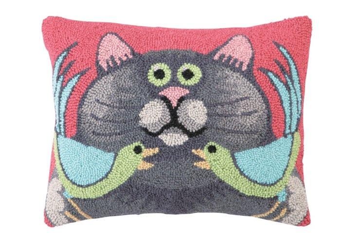 Cat w/ Two Birds 14x18 Pillow, Multi