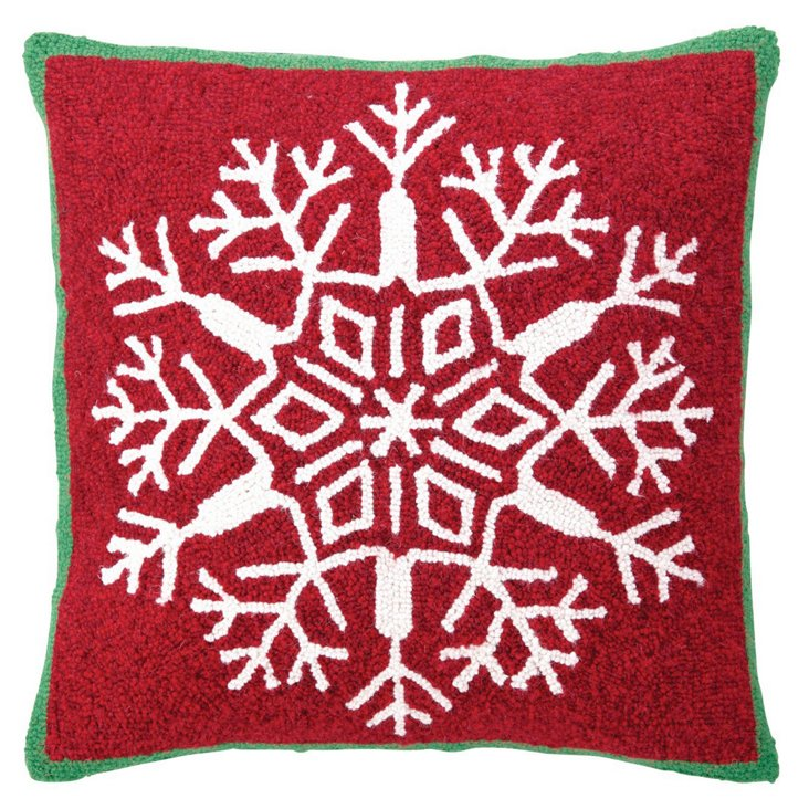 Snowflake 18x18 Pillow, Red