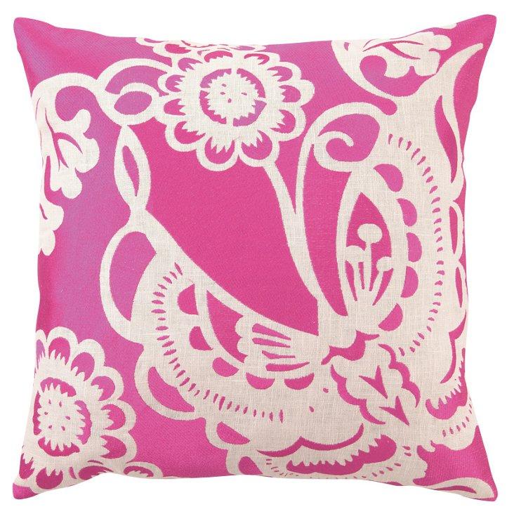 Butterfly 20x20 Linen Pillow, Pink