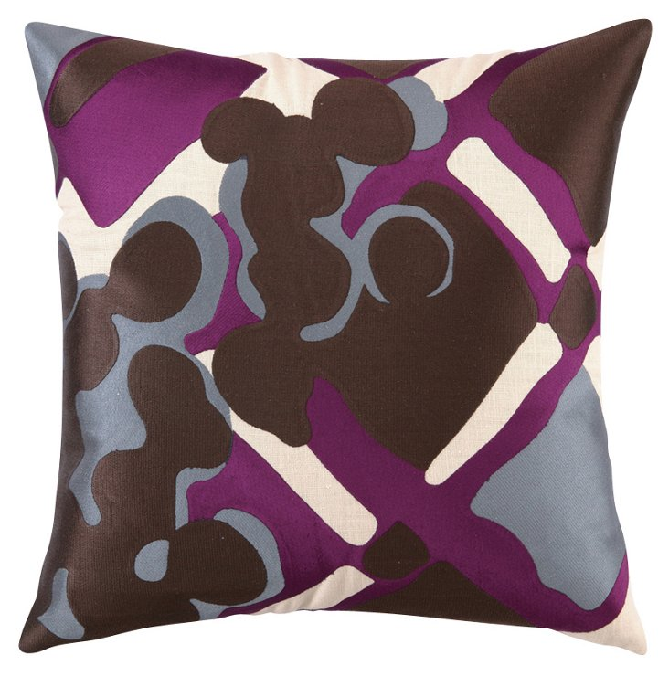 Painterly Plaid 20x20 Linen Pillow, Purple