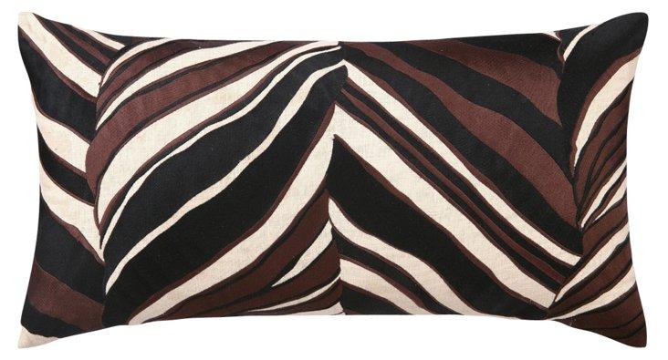 Tiger Leaf 14x26 Linen  Pillow, Brown