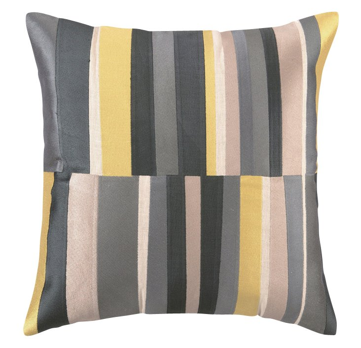 Stripe 20x20 Linen Pillow, Gray