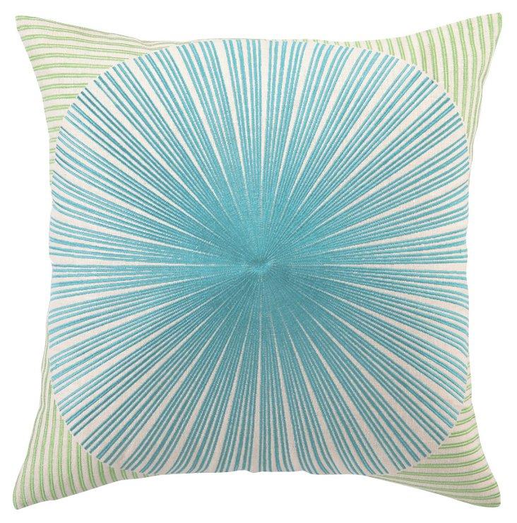Sunburst 20x20 Linen Pillow, Green/Blue