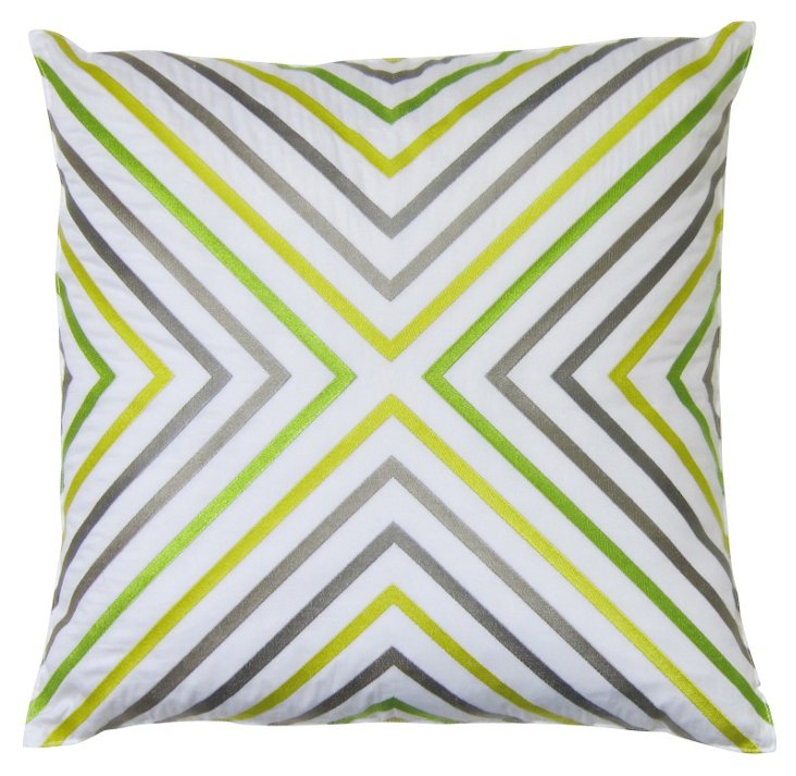 Ikat Cross 20x20 Cotton Pillow, Multi