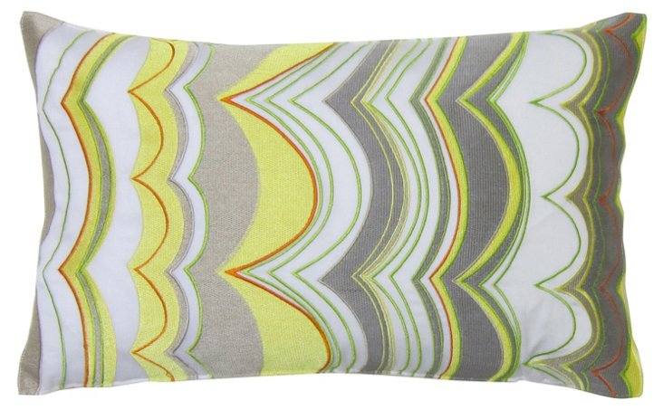 Ikat Wave 12x20 Cotton Pillow, Multi