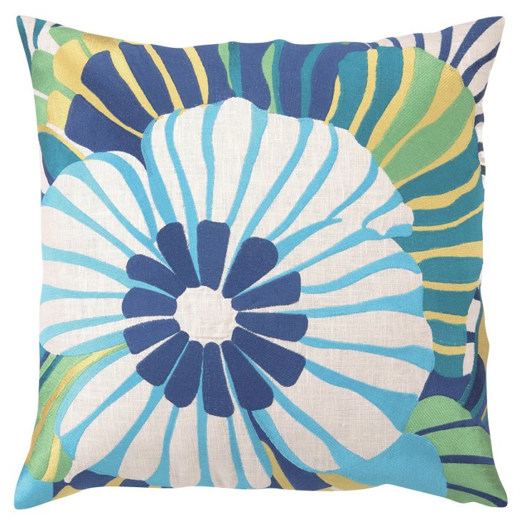 Pansy 20x20 Linen Pillow, Blue