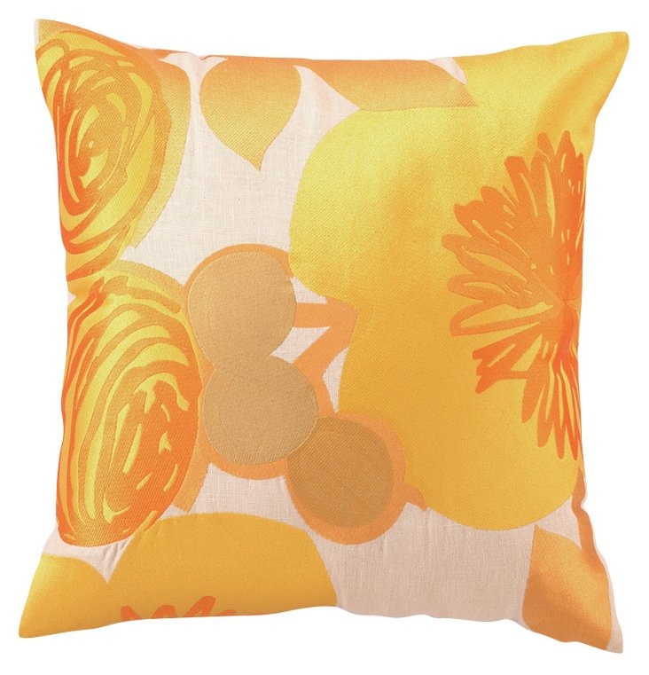 Blooms 20x20 Embroidered  Pillow, Orange