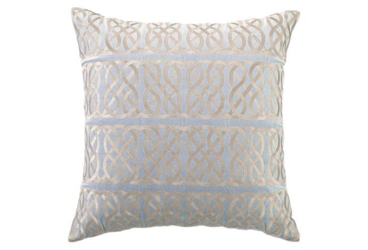 Nautical Knot 20x20 Velvet Pillow, Blue