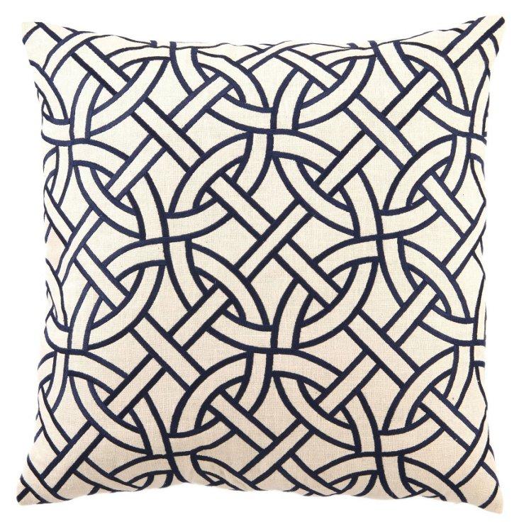 Circle Link 20x20 Linen Pillow, Navy