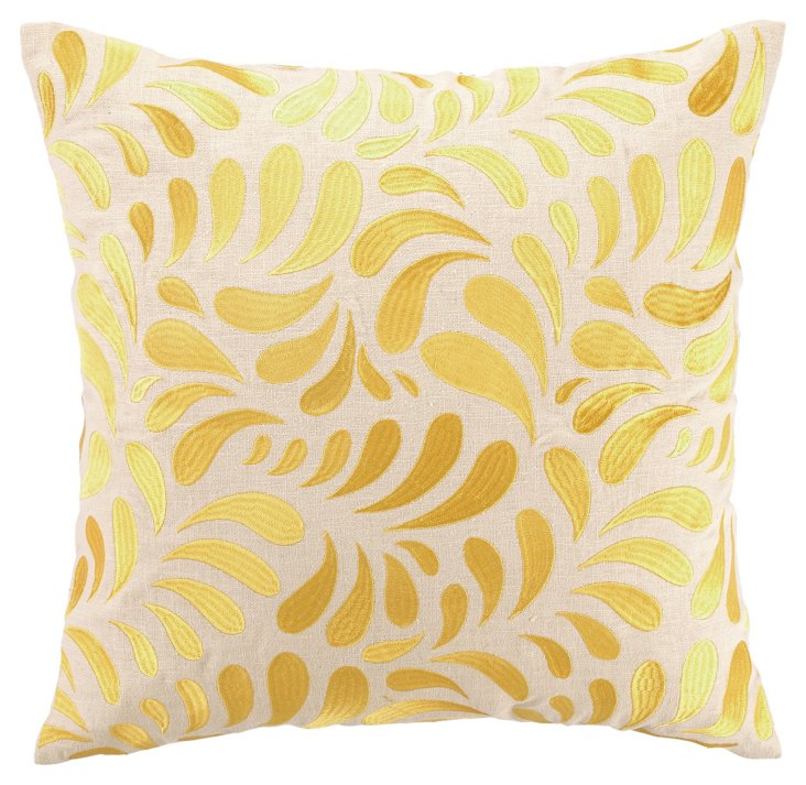 Brejer 18x18 Embroidered Pillow, Yellow