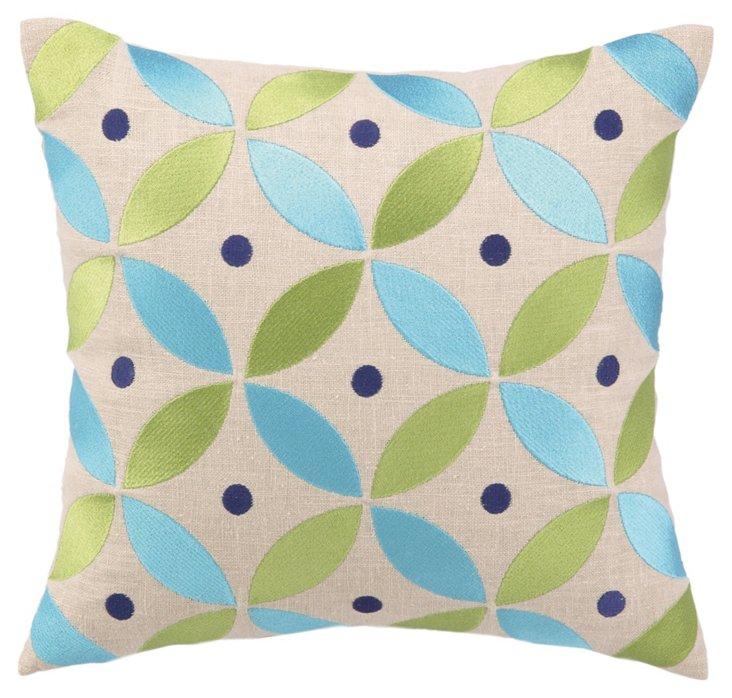 Boho Chic 14x14 Cotton Pillow, Blue