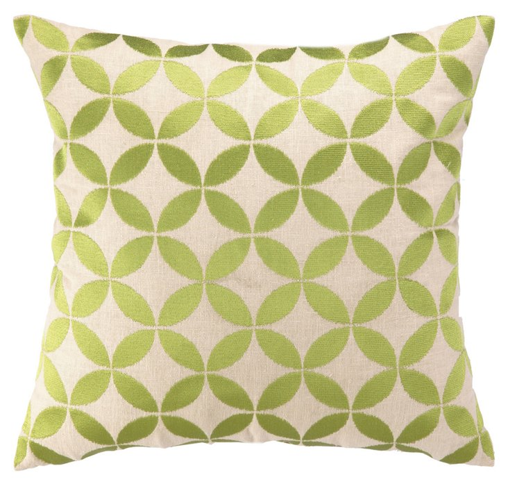 Shapes 20x20 Cotton Pillow, Green