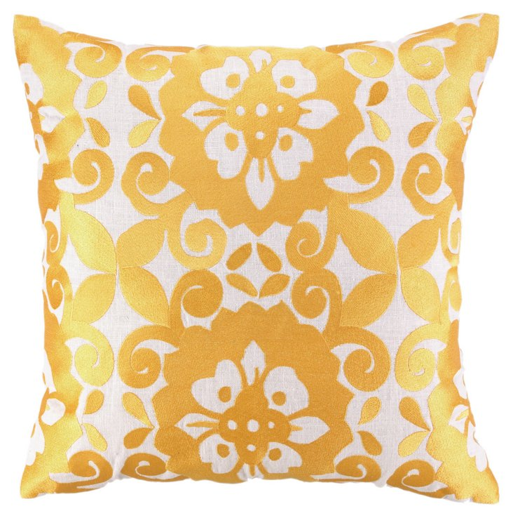Cassie 20x20 Embroidered Pillow, Gold