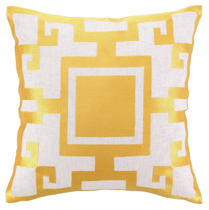 Kara 16x16 Embroidered Pillow, Gold