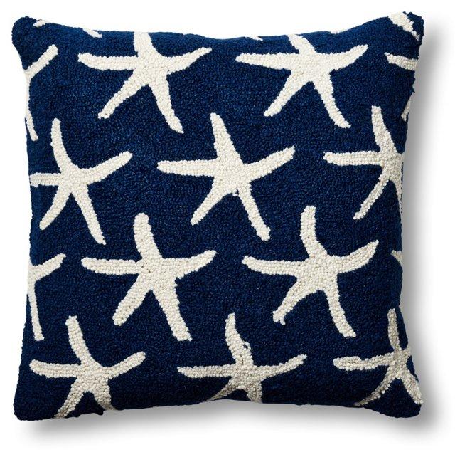 Starfish 18x18 Wool Pillow, Navy
