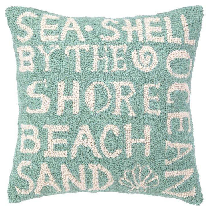 Beach Paradise 16x16 Wool Pillow, Teal