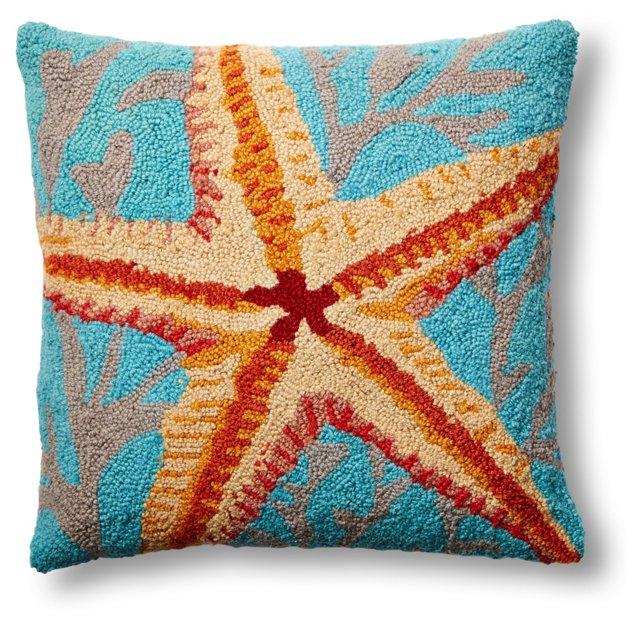 Starfish 18x18 Wool Pillow, Orange