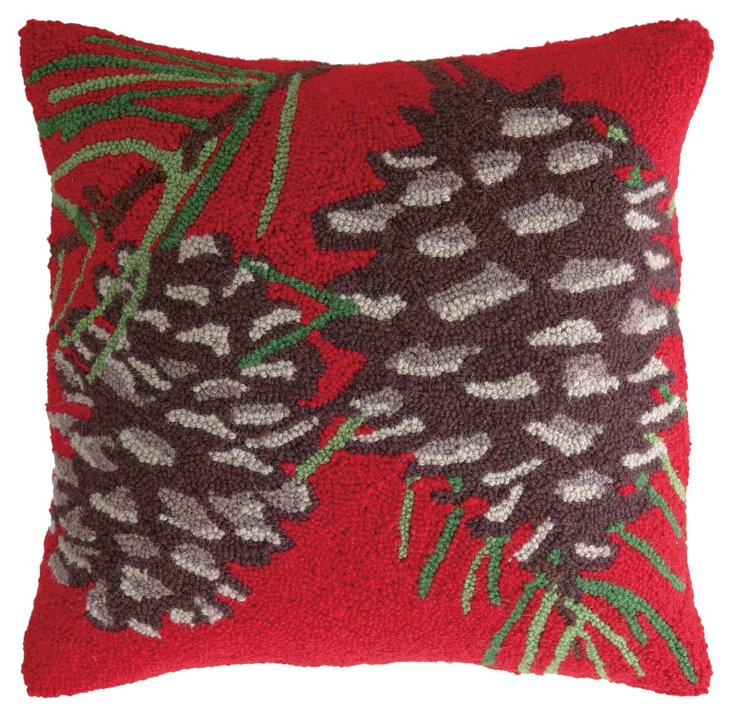 Pinecones 18x18 Pillow, Red