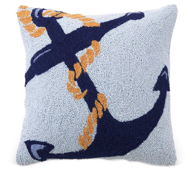 Anchor 16x16 Wool Pillow, Blue