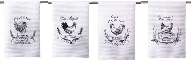 Asst of 4 Kitchen Towel, French Roosters