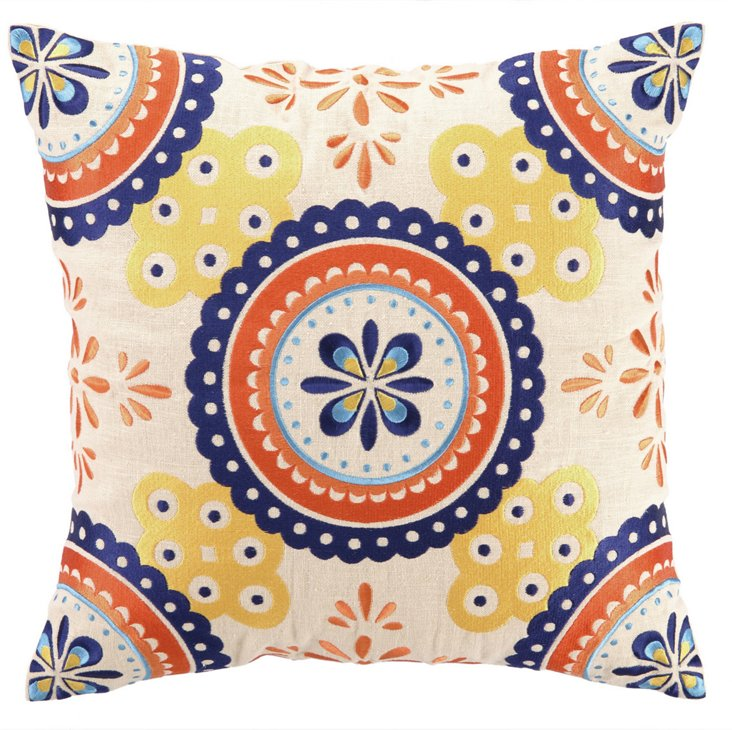 Jassir 18x18 Embroidered Pillow, Multi