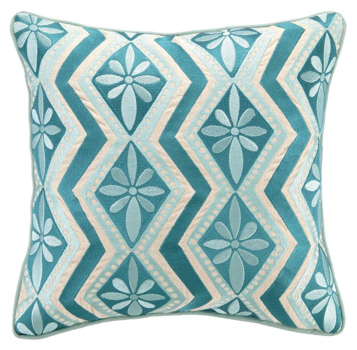Yarden 16x16 Embroidered Pillow, Blue