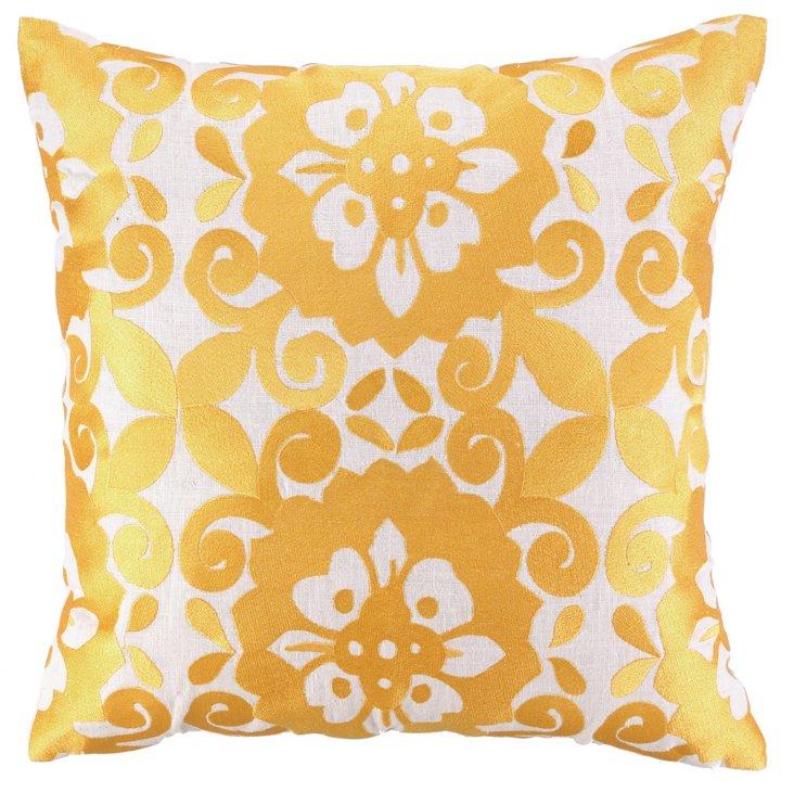 Zaki 20x20 Embroidered Pillow, Gold