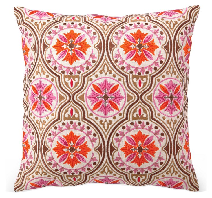 Xavier 18x18 Embroidered Pillow, Pink