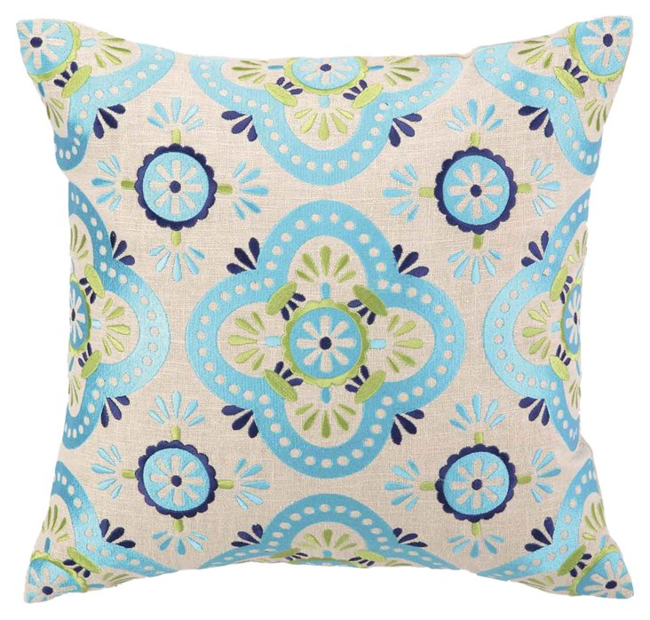 Sarti 16x16 Embroidered Pillow, Blue