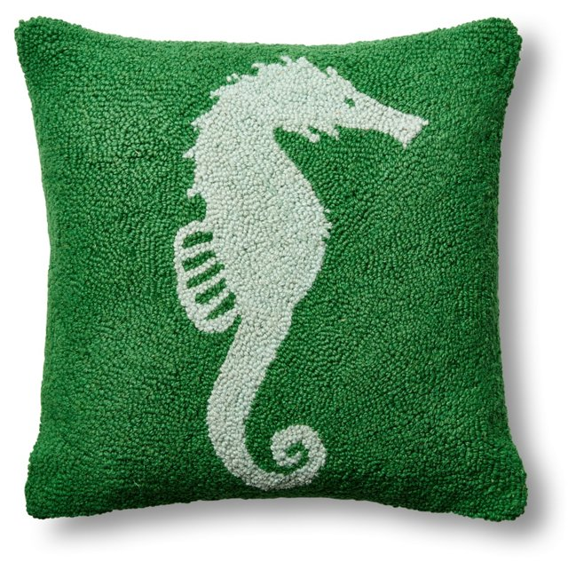 Seahorse 16x16 Wool Pillow, Green